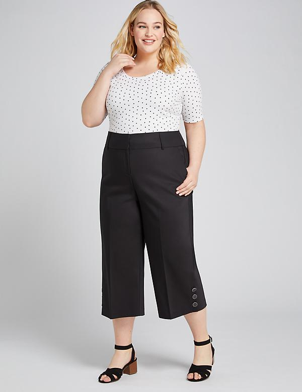 Power Pockets High-Rise Modern Stretch Wide Leg Crop With Button Hem