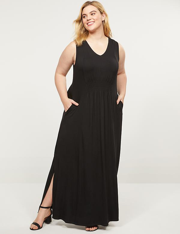 Shirred-Waist Maxi Dress