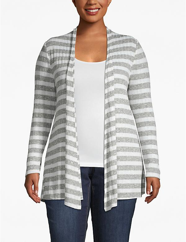 Striped Ribbed Open-Front Cardigan