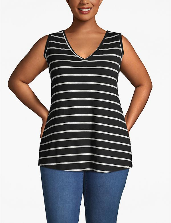 Striped V-Neck Swing Tank