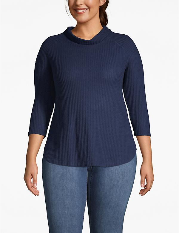 Cozy Touch Waffle Cowlneck Top