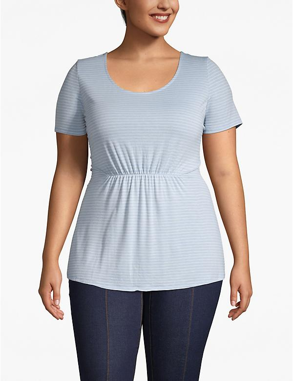 Striped Ruched-Waist Tee