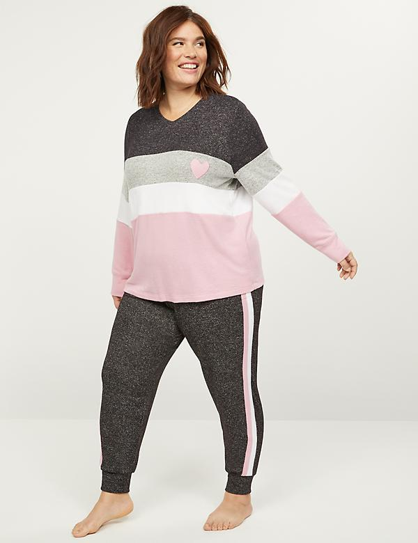 Brushed Jersey Striped Sleep Top