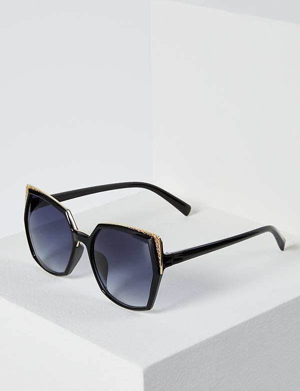 Oversized Filigree D-Frame Sunglasses