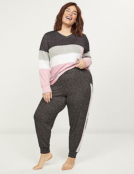 Brushed Jersey Sleep Jogger With Side Stripes