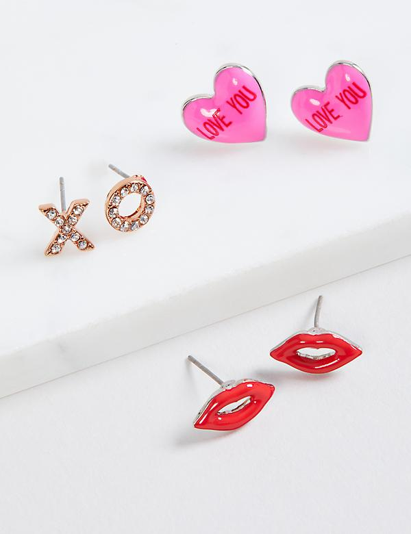 Love Stud Earrings - 3-Pack