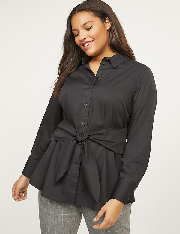 Tie-Front High-Low Shirt