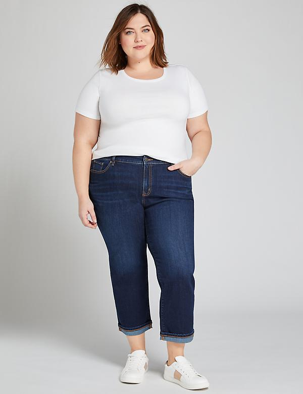 Eco-Chic Girlfriend Crop Jean - Dark Wash
