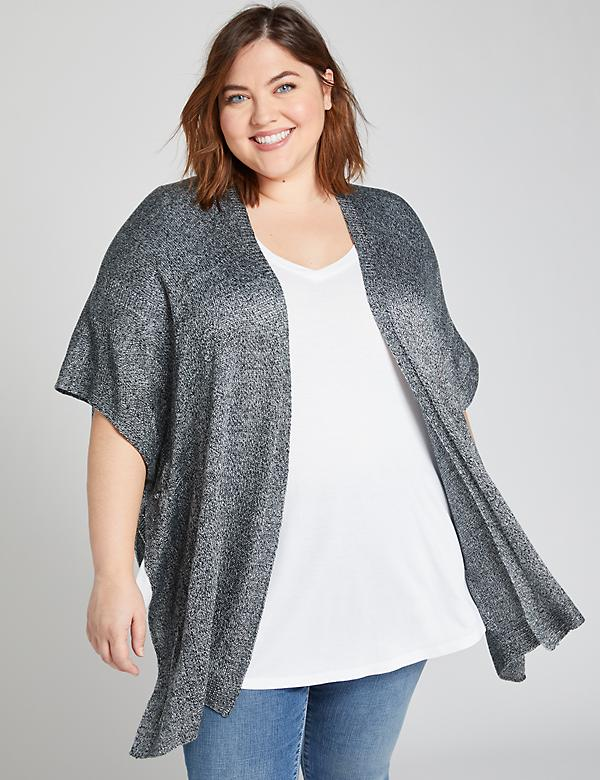 Textured-Knit Sweater Kimono Overpiece