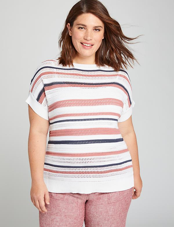 Striped Dolman-Sleeve Sweater