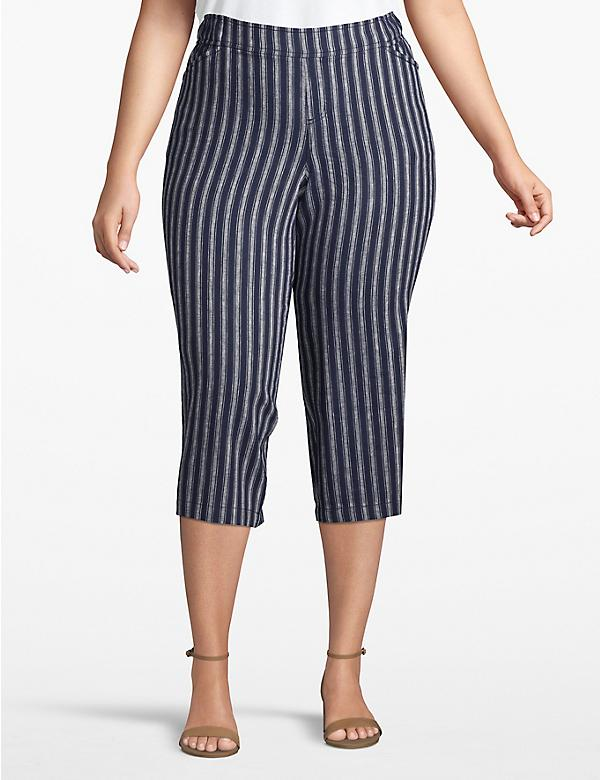 Effortless Chic Pull-On Wide Leg Crop - Striped