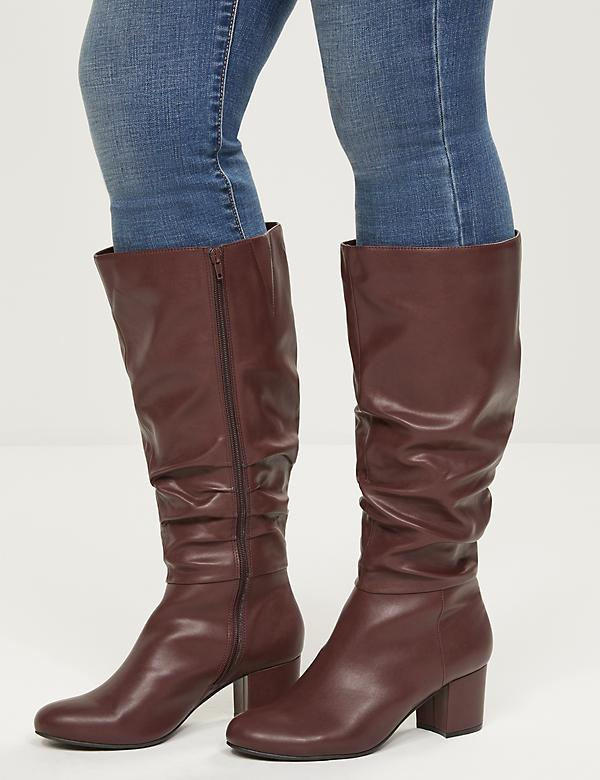 Audrey Faux-Leather Slouchy Heeled Boot