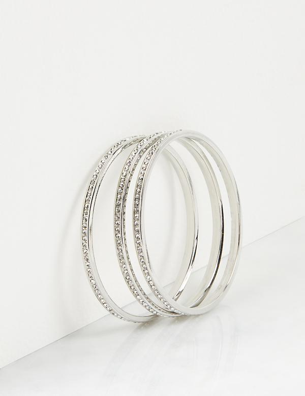 3-Row Faceted Stone Bangle Bracelets