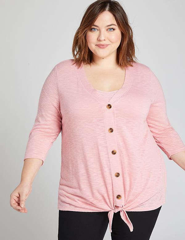 Button-Front Tie Top