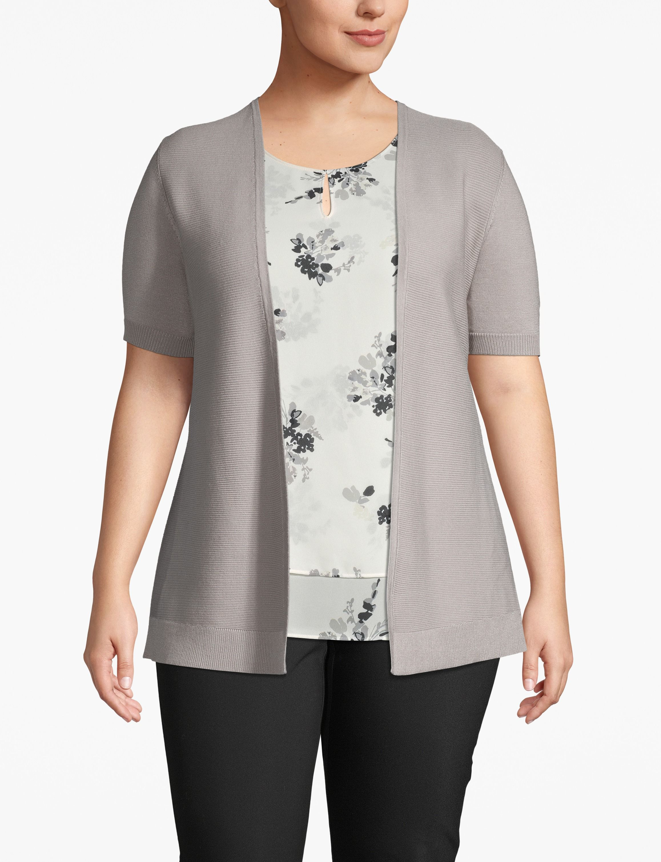 e 	Lane Bryant Women's Ribbed-Front Short Sleeve Cardigan 26/28 Ash