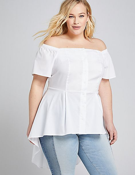 Off-The-Shoulder Extreme Peplum Tunic