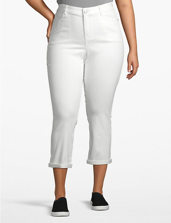 Venezia Skinny Crop Jean - White With Rolled Cuffs