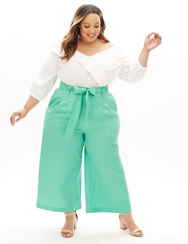 Beauticurve Linen Wide Leg Pant With Belt