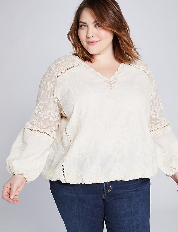 Mixed Media Scalloped-Edge Top