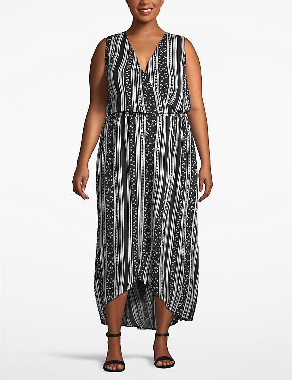 High-Low Faux-Wrap Dress