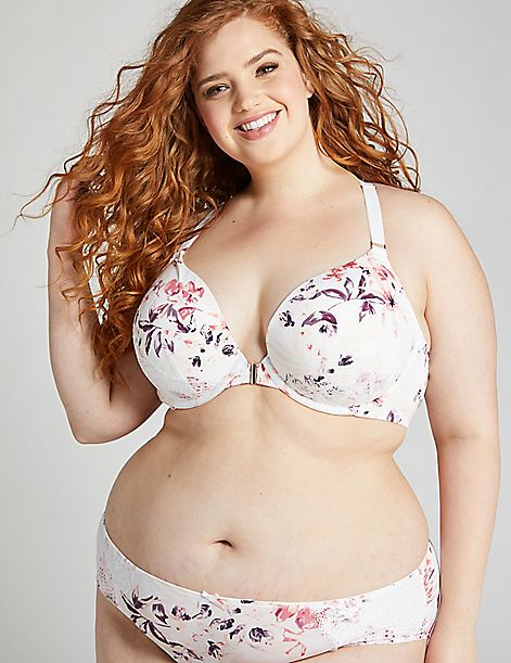Floral Front-Close Boost Plunge Bra