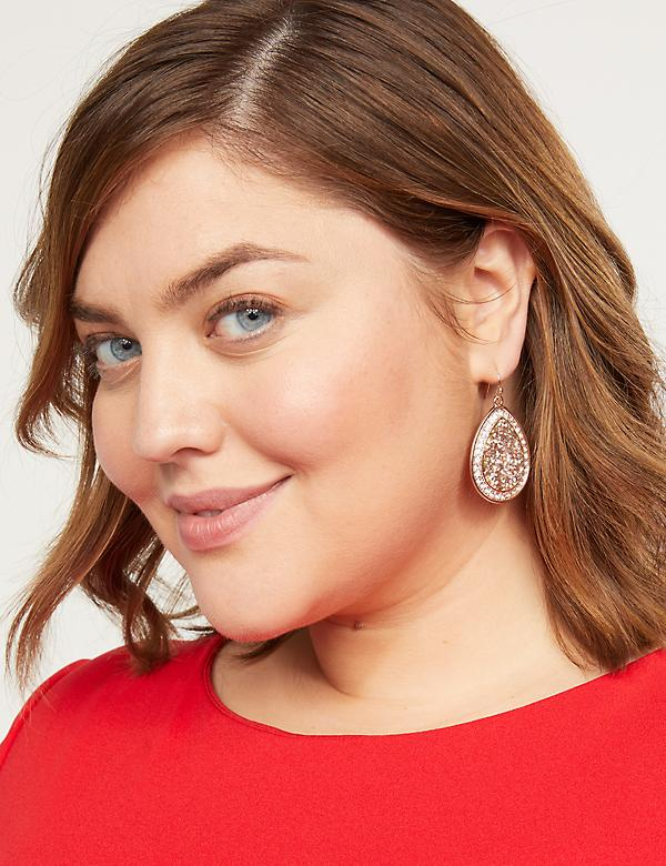 Faux-Druzy Teardrop Earrings