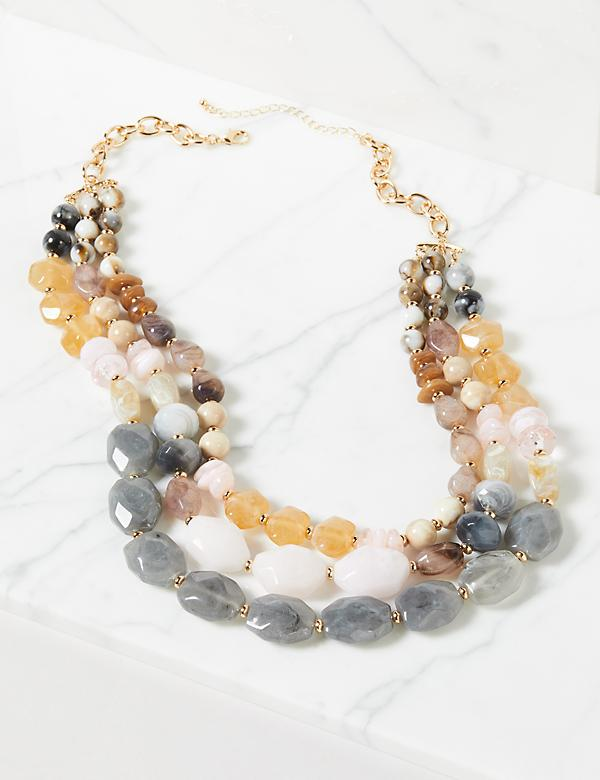 3-Row Beaded Layered Necklace