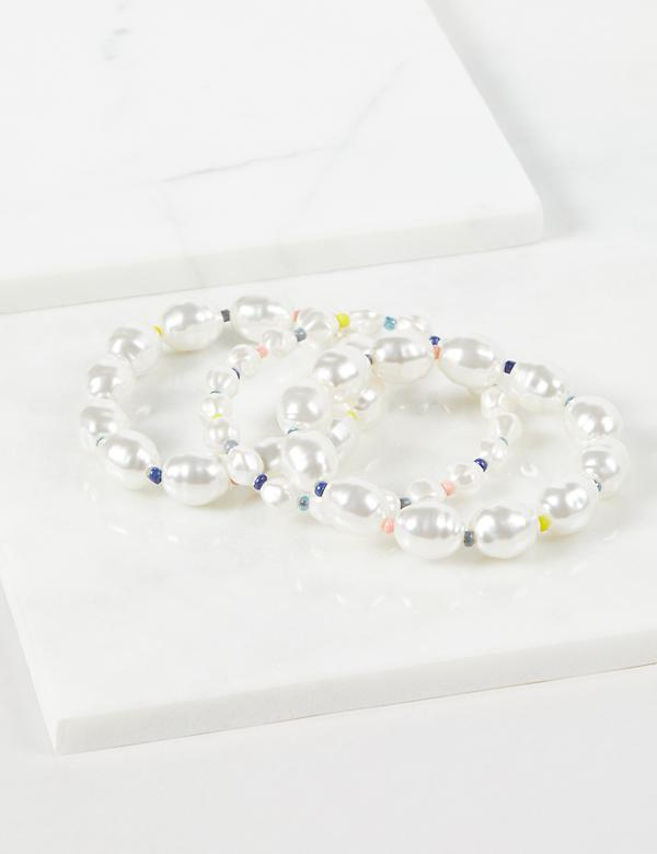 3-Row Beaded Pearlescent Stretch Bracelets