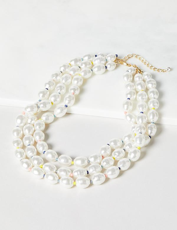 Beaded Pearlescent Layered Necklace