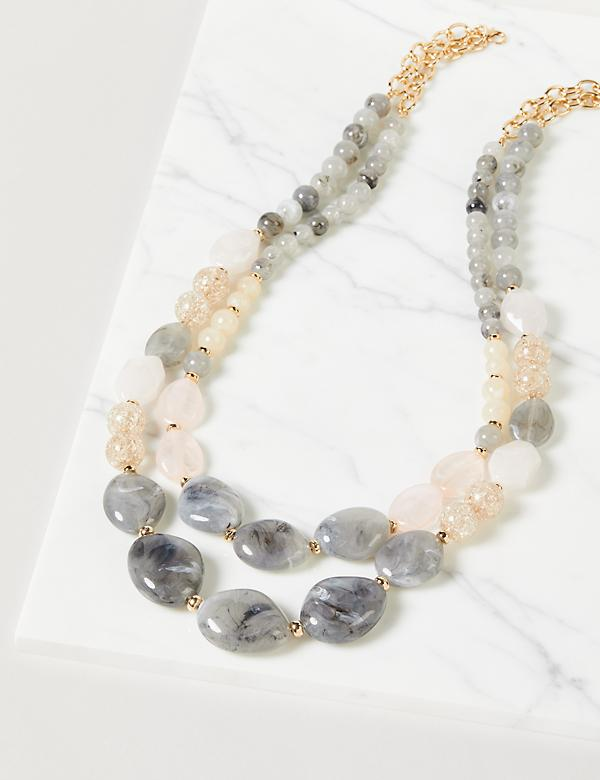 Beaded Layered Long Necklace
