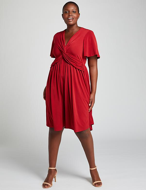 Twist-Front Fit & Flare Dress