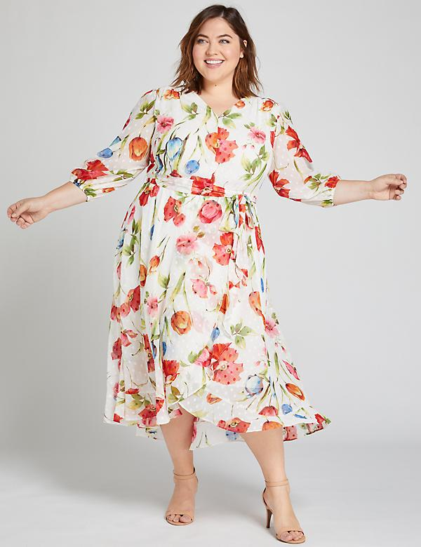Textured Floral Ruffle-Hem Midi Dress