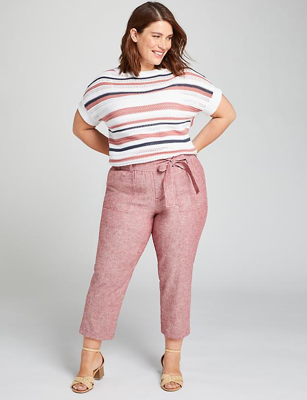 Pull-On Belted Soft Crop Pant