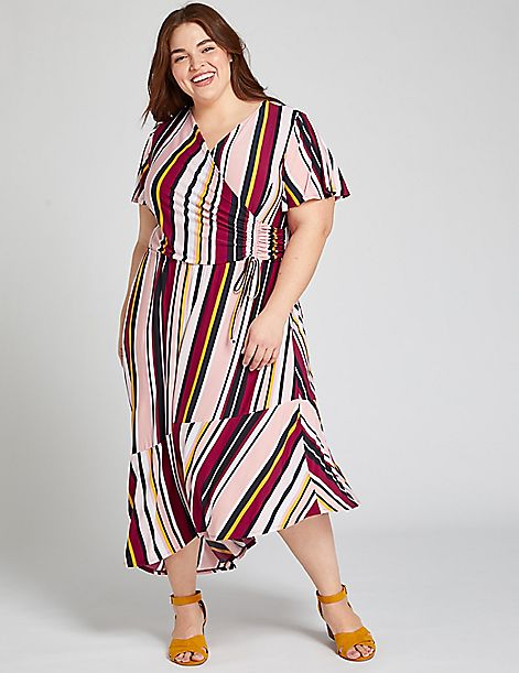 Striped Asymmetrical Crossover Fit & Flare Dress
