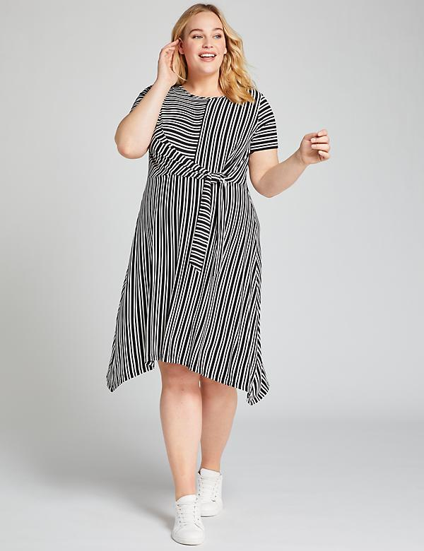 Striped Tie-Waist Fit & Flare Dress