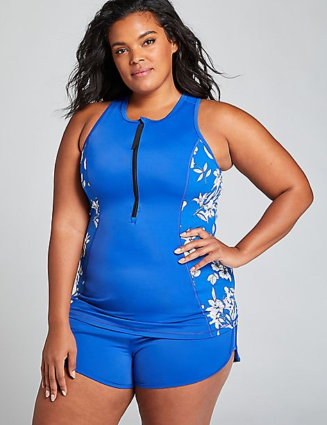 Fitted No-Wire High-Neck Swim Tankini Top