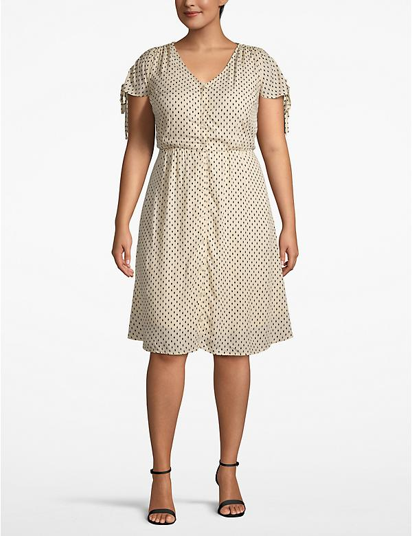 Ruched-Sleeve Buttoned Fit & Flare Dress