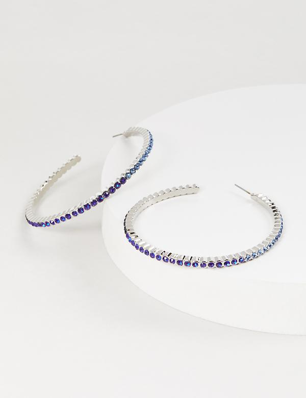 Ombre Hoop Earrings - Blue