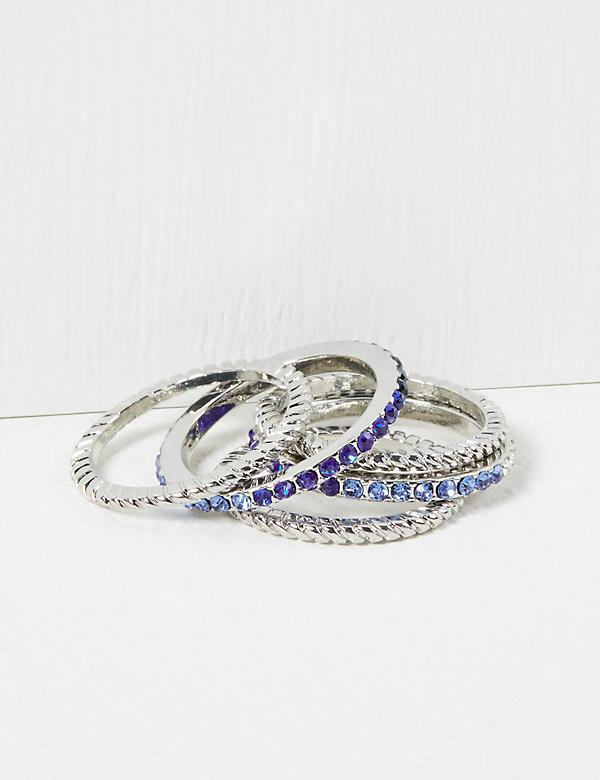 Faceted Stone & Twisted Rings 5-Pack