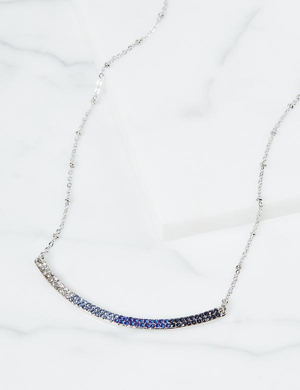 Blue Pave Bar Necklace