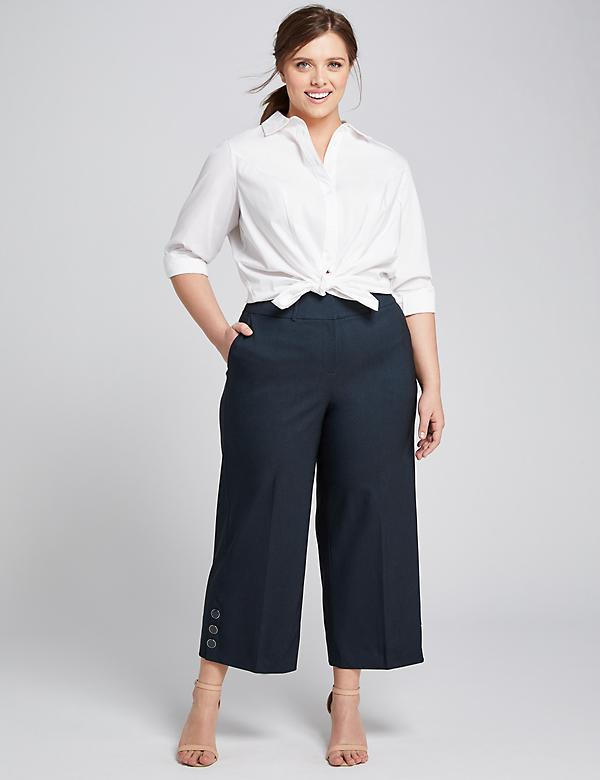 Power Pockets High-Rise Wide Leg Crop With Button Hem - Navy