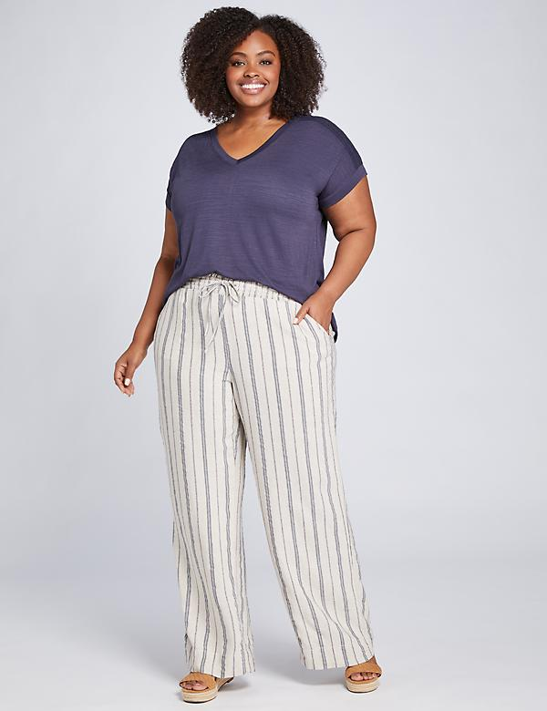 Pull-On Wide Leg Pant - Striped