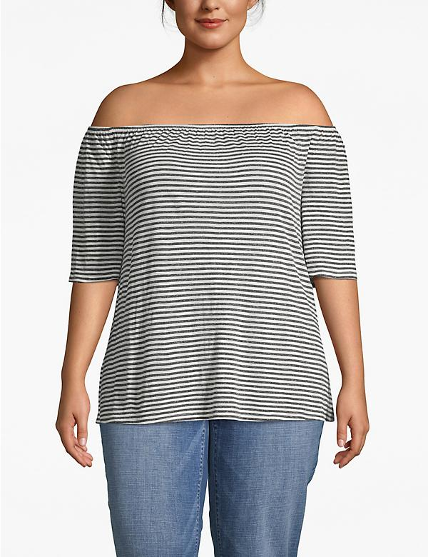 Striped Off-The-Shoulder Tee
