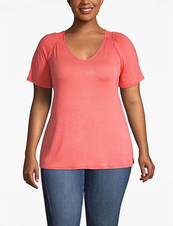 Shirred-Shoulder Tee