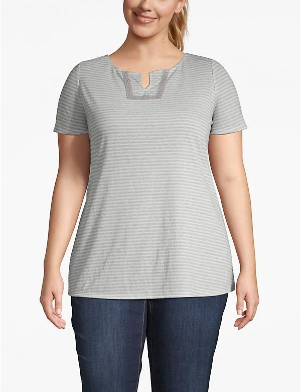 Effortless Chic Striped Crochet-Trim Tee
