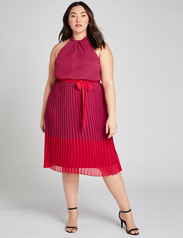 Pleated Colorblock Fit & Flare Dress