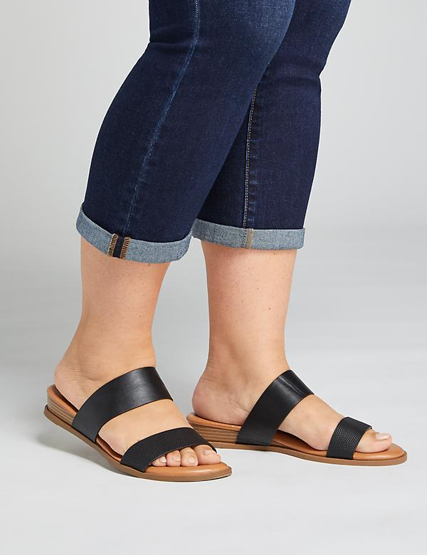 Textured Double Strap Slide Sandal