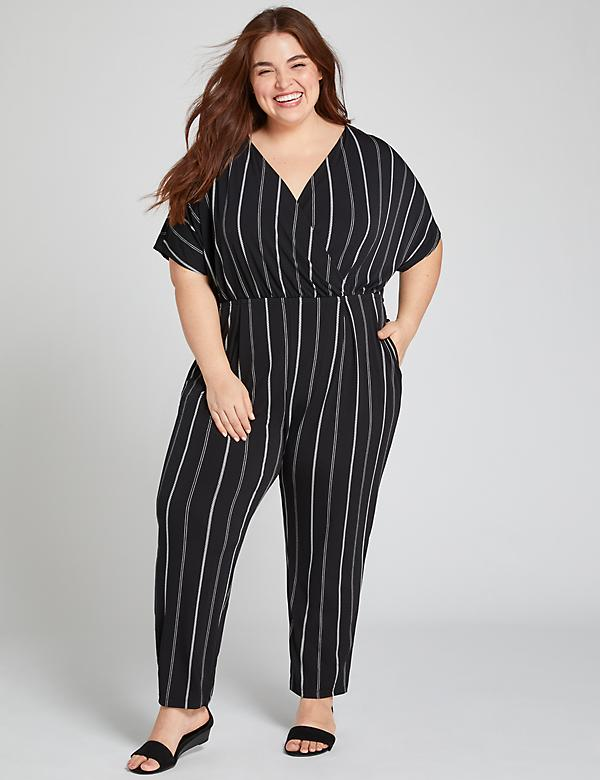 Striped Crossover Ankle Jumpsuit