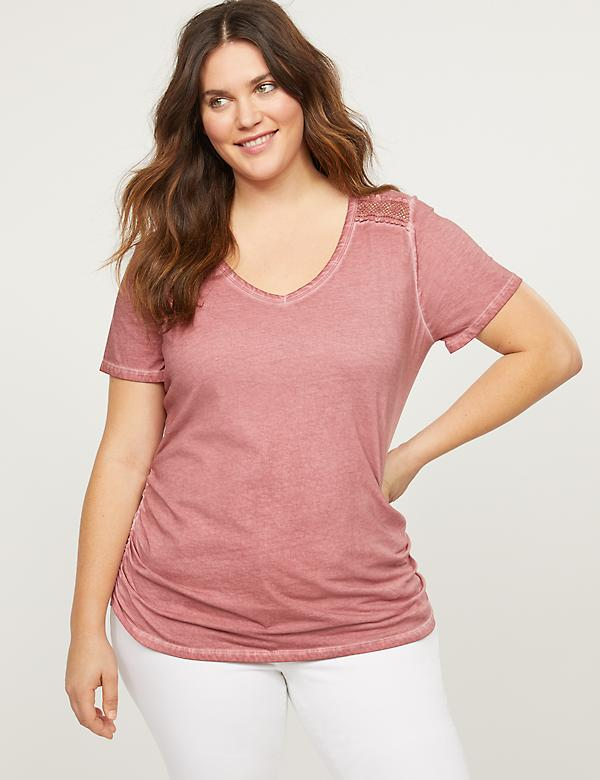 Crochet-Shoulder Ruched Side Tee
