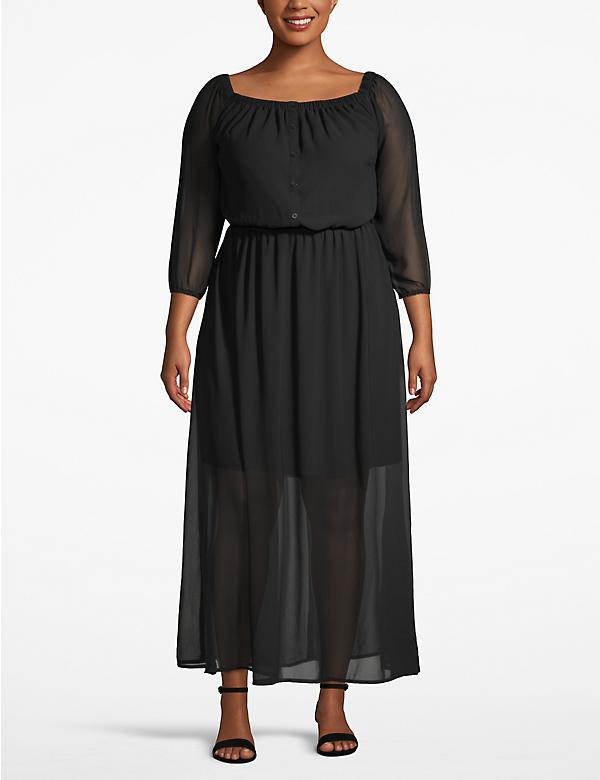 Button-Front Maxi Dress